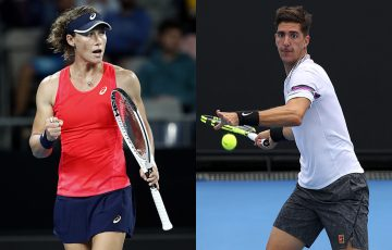 RETURNING: Sam Stosur and Thanasi Kokkinakis are back this week in a UTR Pro Tennis Series event in Melbourne. Pictures: Getty Images