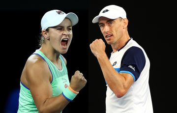 LEADING THE WAY: Ash Barty and John Millman. Pictures: Getty Images