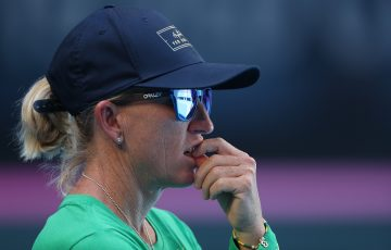 LEADER: Nicole Pratt at the Fed Cup final in Perth last year. Picture: Getty Images