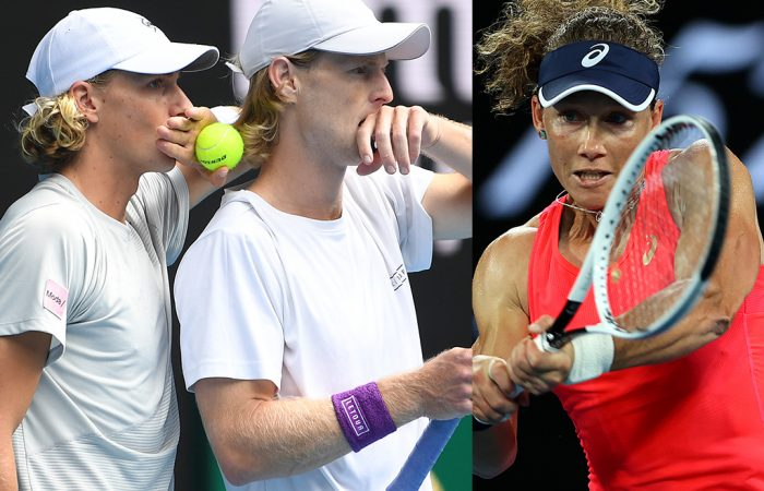 READY: Max Purcell, Luke Saville and Sam Stosur will play doubles at Australian Open 2021. Pictures: Getty Images