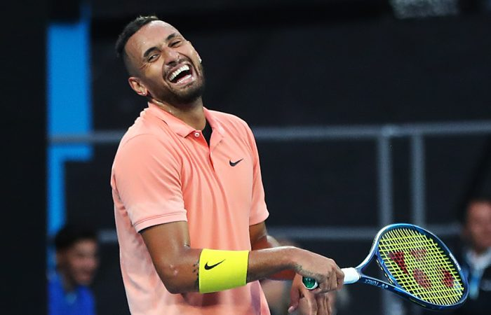 GOOD SPIRITS: Nick Kyrgios laughs during Australian Open 2020. Picture: Getty Images