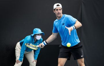 ONE TO WATCH: Thanasi Kokkinakis at the UTR Pro Tennis Series in Melbourne in November. Picture: Tennis Australia