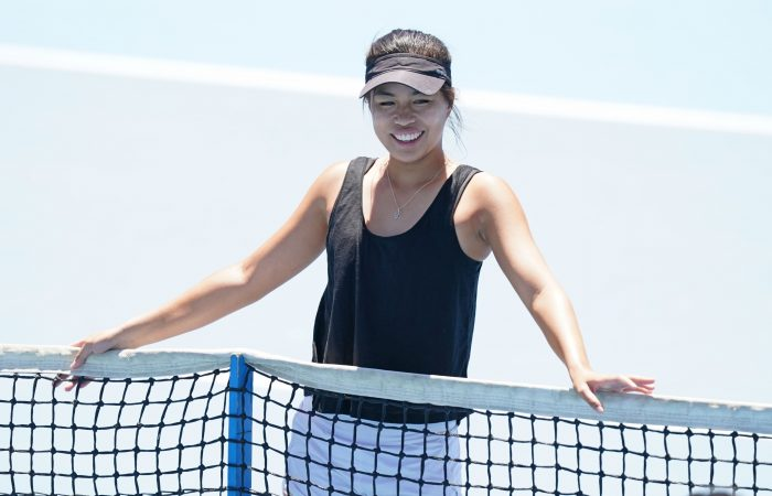 REASON TO SMILE: Lizette Cabrera during an Australian Open practice session this week. Picture: Scott Barbour, Tennis Australia