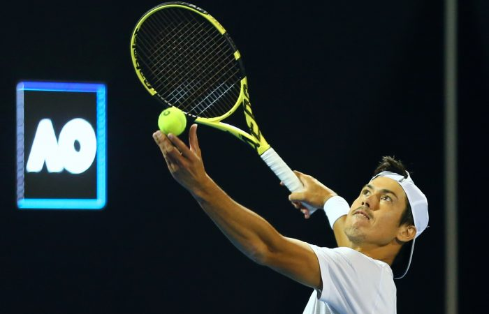ON SERVE: Jason Kubler during his first-round win at Australian Open 2021. PHOTO: SAMER ALREJJAL, TENNIS AUSTRALIA