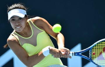 Lizette Cabrera in action at the Melbourne Summer Series. Picture: Tennis Australia
