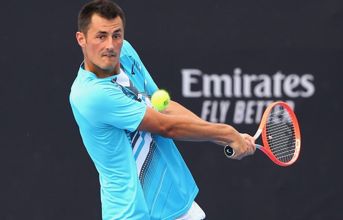 FOCUSED: Bernard Tomic during the Australian Open 2021 qualifying event in Doha. Picture: Samer Alrejjal, Tennis Australia