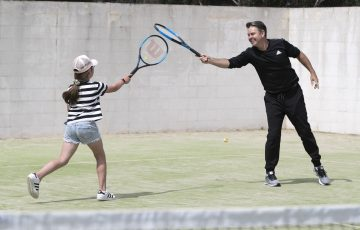 Todd Woodbridge visited the Olivia Rich Tennis School in Torquay to join in the AO Holiday Program. Picture: Fiona Hamilton, Tennis Australia