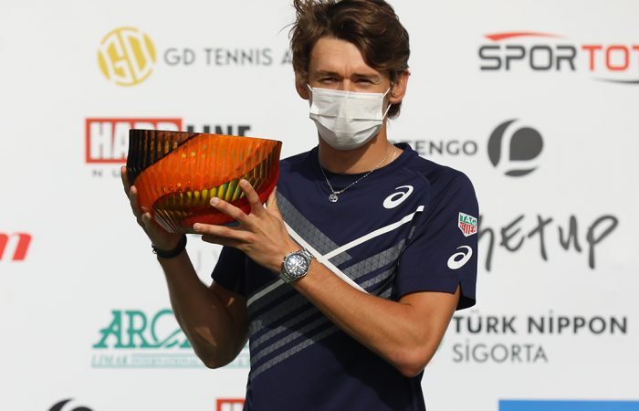 CHAMPION: Alex de Minaur with his Antalya Open trophy. Picture: Antalya Open