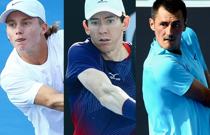 CONTENDERS: Dane Sweeny, John-Patrick Smith and Bernard Tomic are the last Australians left in the Australian Open 2021 qualifying draws. Pictures: Tennis Australia