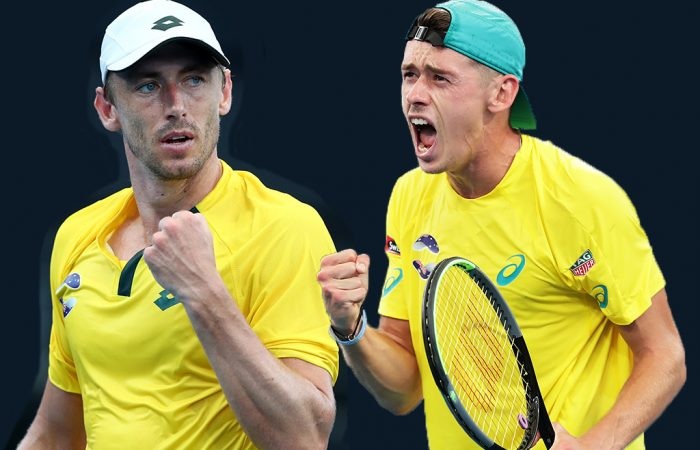John Millman and Alex de Minaur will lead Team Australia at the 2021 ATP Cup. Pictures: Getty Images