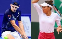 IN ACTION: Alex de Minaur and Ajla Tomljanovic. Pictures: Getty Images
