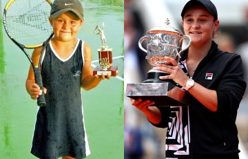 Ash Barty in 2002 and 2019
