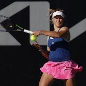 Ellen Perez in action during her first-round qualifying win of AO 2021 in Dubai over Caroline Dolehide. (photo: Tennis Australia/Jorge Ferrari)