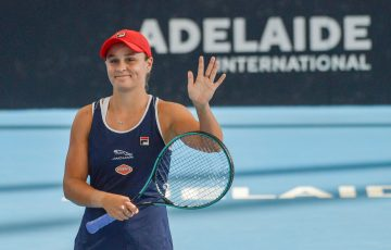 Ash Barty thanks the crowd during last year's Adelaide International. Picture: Getty Images