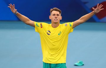 PUMPED: Alex de Minaur celebrates during last year's ATP Cup. Picture: Getty Images