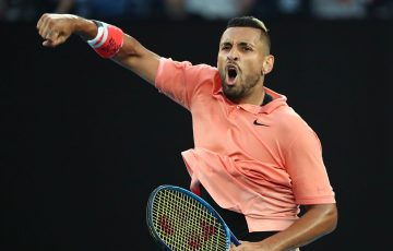 Nick Kyrgios competing at Melbourne Park last summer. Picture: Getty Images