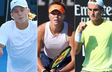 (L-R) Dane Sweeny, Olivia Gadecki and Tristan Schoolkate were first-round winners in Australian Open 2021 qualifying.