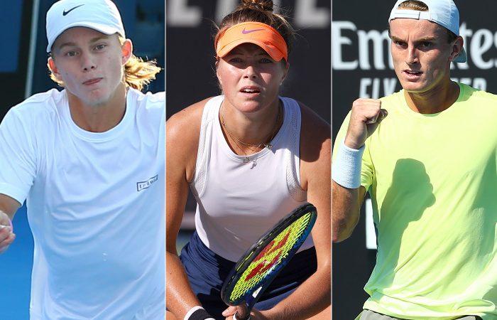 (L-R) Dane Sweeny, Olivia Gadecki and Tristan Schoolkate were first-round winners in Australian Open 2021 qualifying.