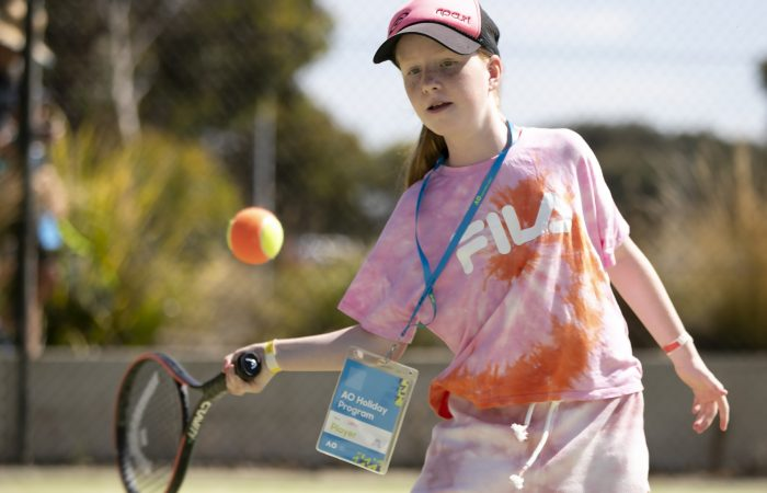 A student from the Olivia Rich Tennis School in Torquay taking part in the AO Holiday Program. Picture: Fiona Hamilton, Tennis Australia