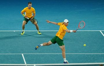FINISHING STRONG: John Peers and Luke Saville combined to seal victory against Team Greece. Picture: Tennis Australia