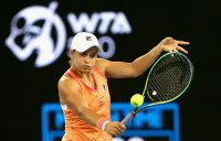 Ash Barty lines up a volley during her Yarra Valley Classic quarterfinal at Melbourne Park. Picture: Tennis Australia
