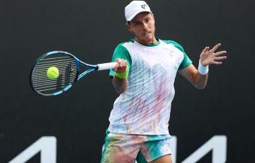 James Duckworth in action at Australian Open 2021. Picture: Tennis Australia