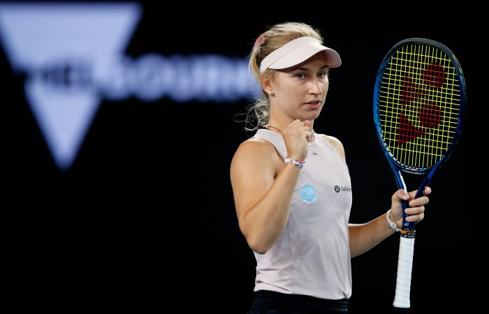 DETERMINED: Daria Gavrilova during her first-round win at Australian Open 2021. Picture: Tennis Australia