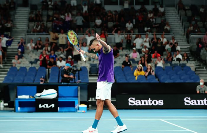 A courageous Nick Kyrgios has saved two match points to win his second-round match at Australian Open 2021. Picture: Tennis Australia