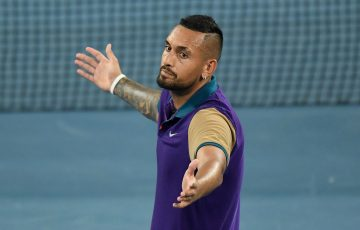 Nick Kyrgios' reaction after winning an epic second-round match at Australian Open 2021. Picture: Tennis Australia