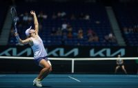 Ash Barty serves during her second-round match against Daria Gavrilova at Australian Open 2021. Picture: Tennis Australia