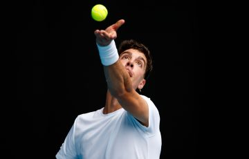 Thanasi Kokkinakis serves during his second-round match at Australian Open 2021. Picture: Tennis Australia