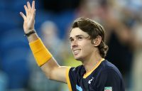 Alex de Minaur acknowledges the crowd after his second-round win at Australian Open 2021. Picture: Tennis Australia