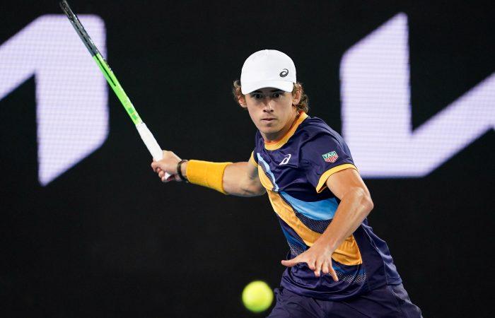 Alex de Minaur lines up a forehand during his third-round match at Australian Open 2021. Picture: Tennis Australia