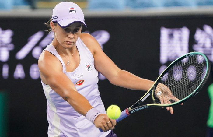 Ash Barty plays a sliced backhand during her third-round win at Australian Open 2021. Picture: Tennis Australia