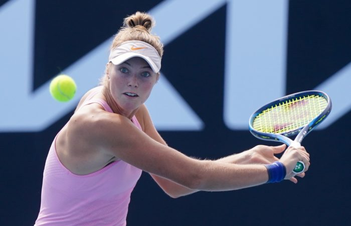 Olivia Gadecki during her stunning second-round win against Sofia Kenin today at Melbourne Park. Picture: Tennis Australia