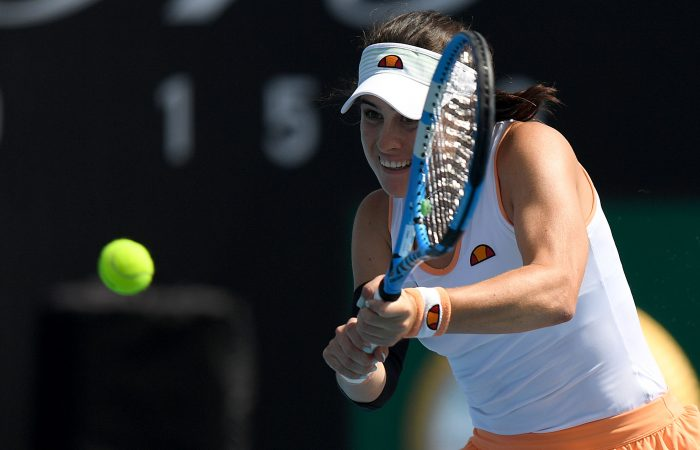 Kimberly Birrell in action during her second-round win today at the Melbourne Summer Series. Picture: Tennis Australia