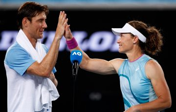 Matt Ebden and Sam Stosur at Australian Open 2021. Picture: Tennis Australia