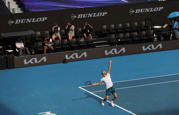 Bulgarian Grigor Dimitrov serves at Australian Open 2021. Picture: Tennis Australia