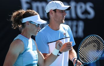 AUSSIES: Sam Stosur and Matt Ebden in action at Australian Open 2021. Picture: Tennis Australia