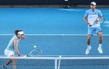 Sam Stosur and Matt Ebden during their semifinal win at Australian Open 2021. Picture: Tennis Australia