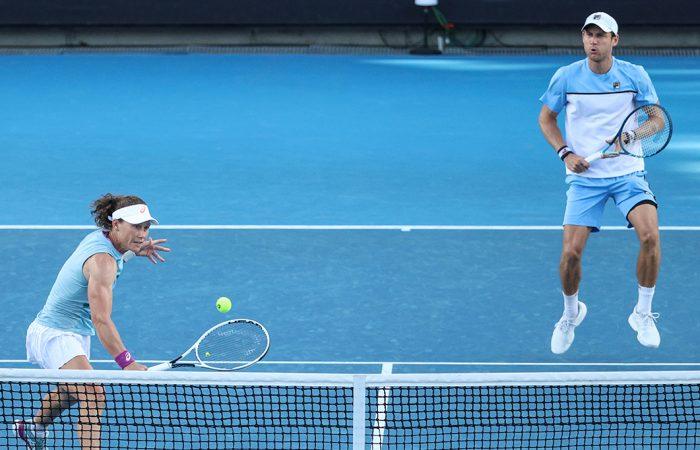 Sam Stosur and Matt Ebden during their semifinal win at Australian Open 2021. Picture: Tennis Australia