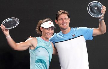 FINALISTS: Sam Stosur and Matt Ebden after the Australian Open 2021 mixed doubles final. Picture: Tennis Australia