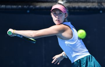 Storm Sanders during her first-round qualifying win at the Adelaide International. Picture: Tennis Australia