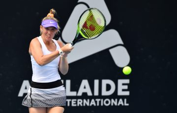 Storm Sanders in action at the Adelaide International. Picture: Tennis Australia