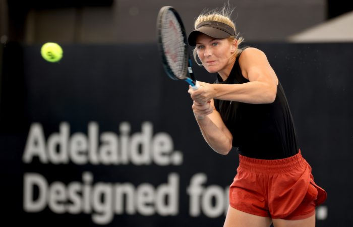 Maddison Inglis in action at the Adelaide International. Picture: Tennis Australia