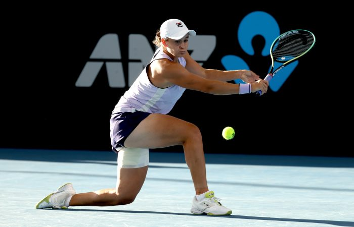 Ash Barty plays a slice backhand during her second-round match at the Adelaide International. Picture: Tennis Australia