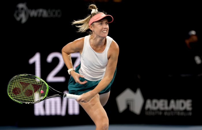 Storm Sanders serves during her Adelaide International quarterfinal. Picture: Tennis Australia
