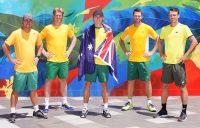 TEAM AUSTRALIA: Captain Lleyton Hewitt, Luke Saville, Alex de Minaur, John Peers and John Millman at Melbourne Park. Picture: Tennis Australia