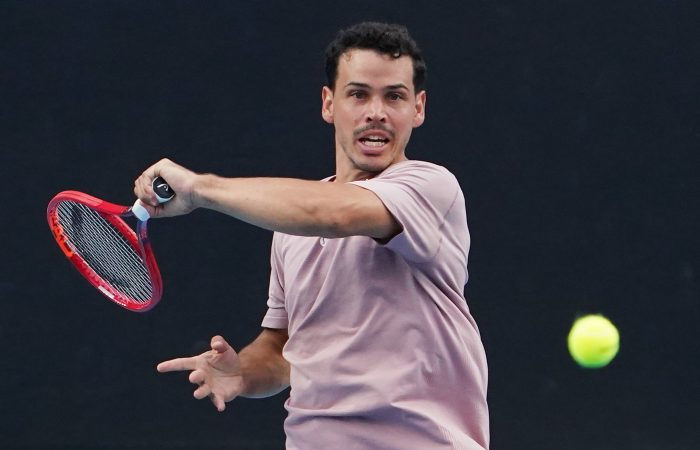 Alex Bolt during his first-round win against Thanasi Kokkinakis at Melbourne Park today. Picture: Tennis Australia