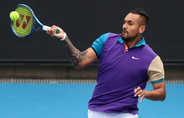 Nick Kyrgios during his first-round win at the Murray River Open. Picture: Tennis Australia